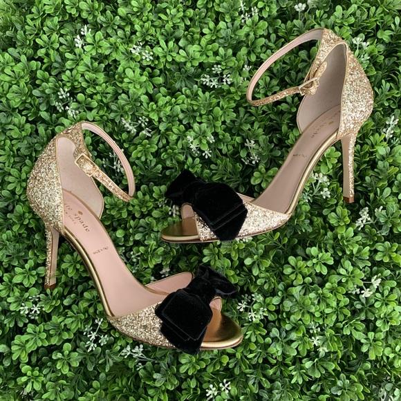 371d41d5eac5 kate spade Shoes | Irwin Gold Glitter Heels | Poshmark